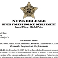 River Forest Police Make Additional Arrests in December and January  Residential Burglary/auto Theft Incidents
